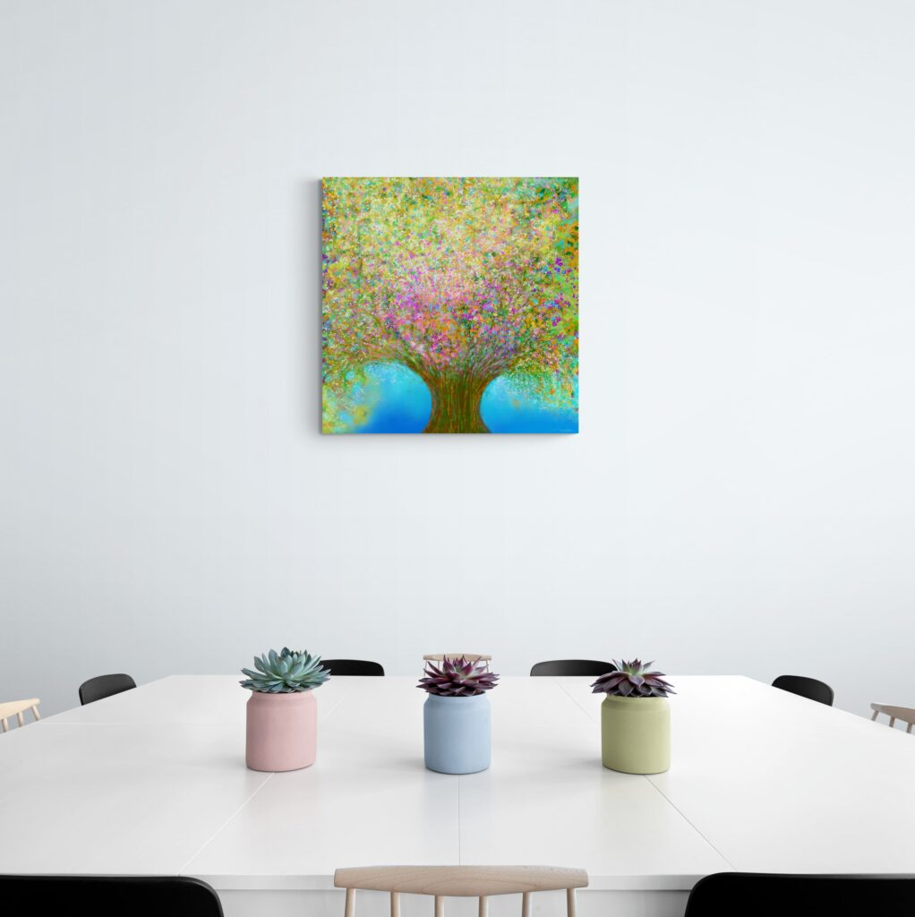 Third image of 'Spring Waltz'. Impressive artwork inspired by the rich nature of Occitanie, France. artist: Anne Turlais - Limited edition of 300. Colorful wall art printed on Dibond, signed and numbered.