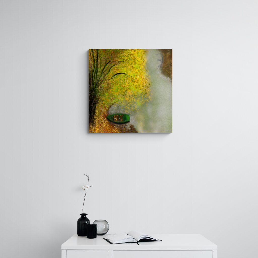 Fourth image of 'La Barque'. Stunning art print inspired by the beautiful nature in Occitanie, France. artist: Anne Turlais - Limited edition of 300. Floral Art Print on Dibond.