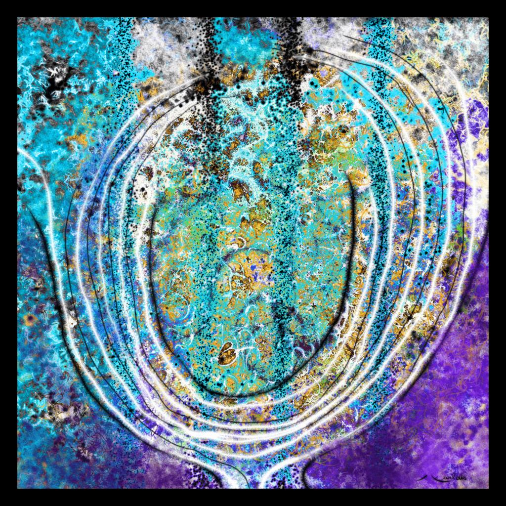 Première Image de 'Pierre Florale'. Sublime oeuvre inspirée de la nature occitane. artiste : Anne Turlais - Edition limitée à 300 exemplaires. Art contemporain abstrait imprimé sur papier fine art et encollé sur Dibond.