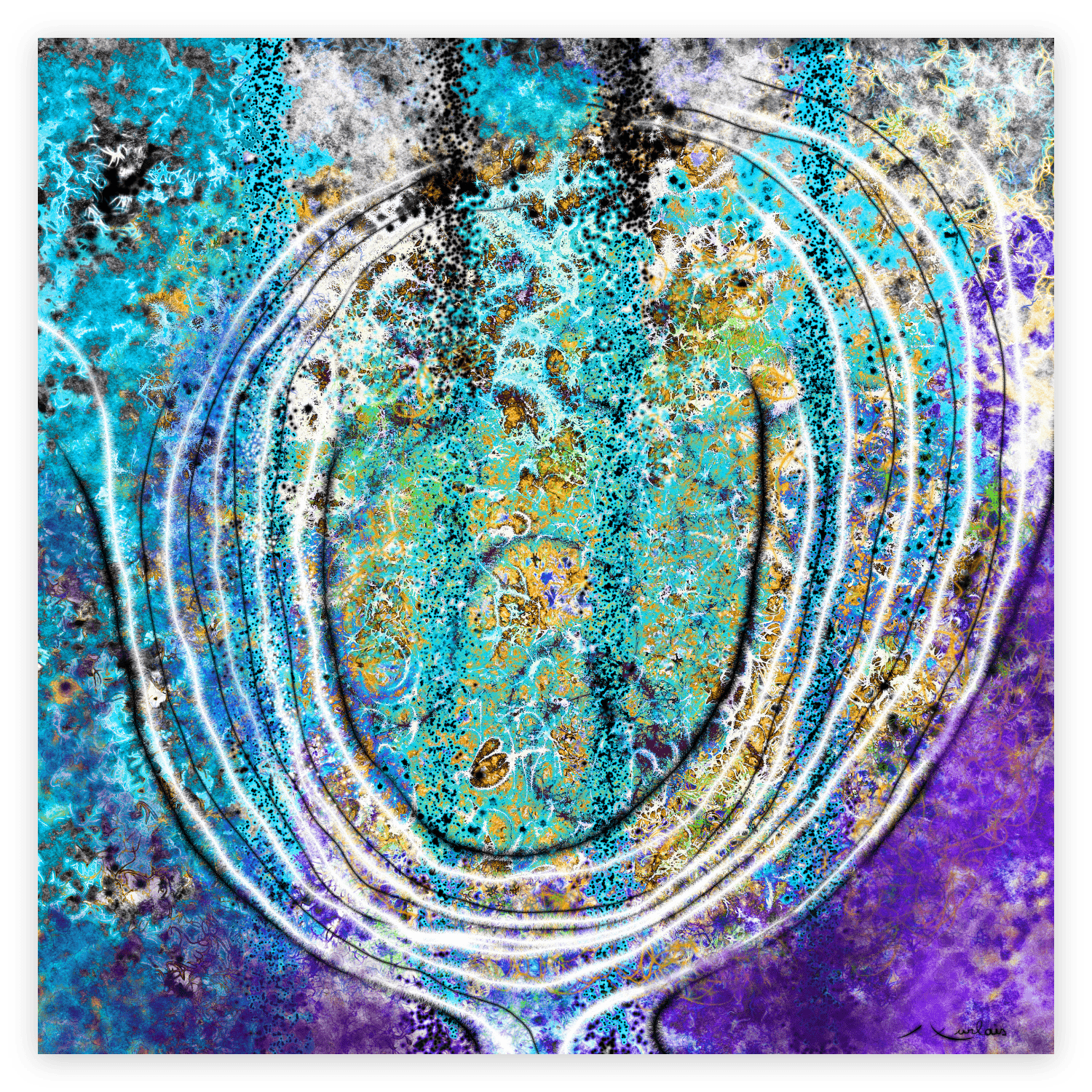 First Image of 'Floral Stone'. Beautiful artwork inspired from Occitanie's nature. artist: Anne Turlais - Limited edition of 300. Abstract floral art printed on Dibond.