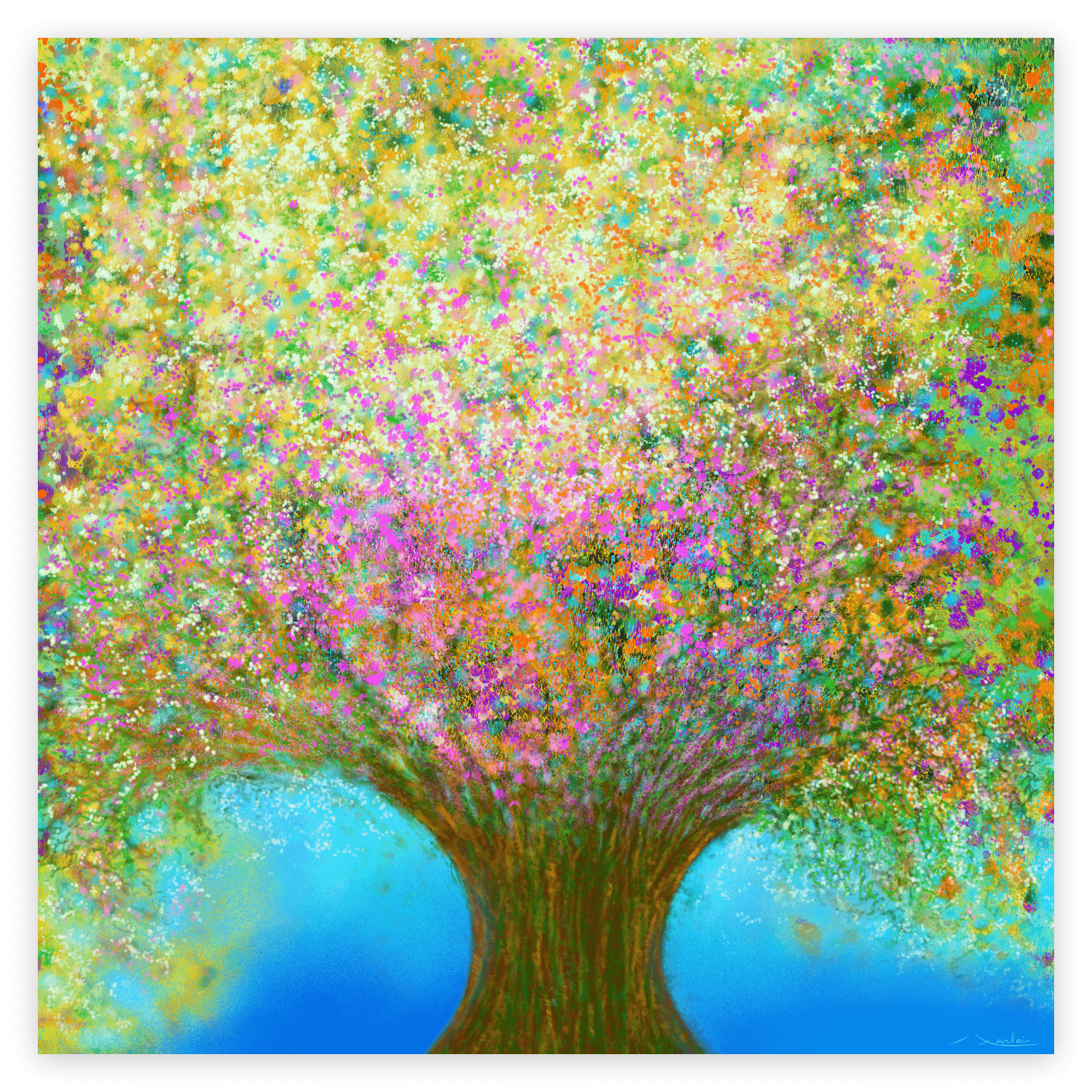First image of 'Spring Waltz'. Impressive artwork inspired by the rich nature of Occitanie, France. artist: Anne Turlais - Limited edition of 300. Colorful wall art printed on Dibond, signed and numbered.