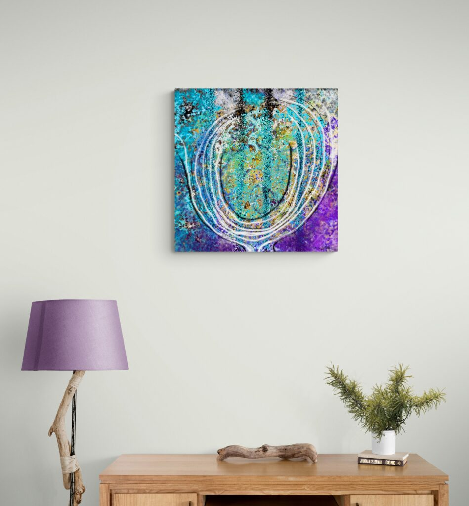 Second Image of 'Floral Stone'. Beautiful artwork inspired from Occitanie's nature. artist: Anne Turlais - Limited edition of 300. Abstract floral art printed on Dibond.