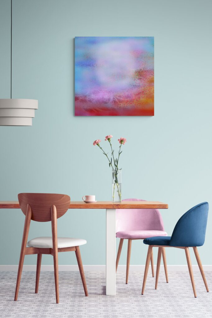 Second image of 'A Morning'. Morning of tenderness, Morning tying heaven to earth, Slowly, In the awakening breath. artist: Anne Turlais - Limited edition of 300. Abstract wall decor printed on Dibond. Signed and numbered