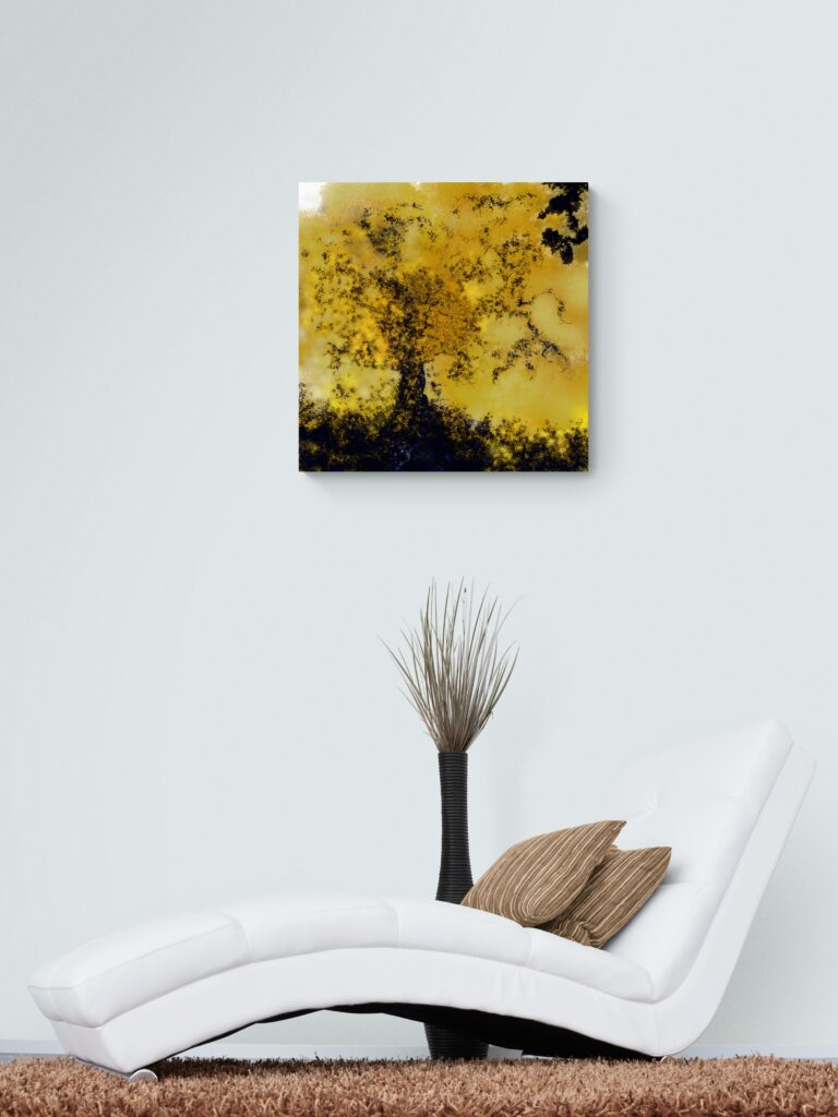 Third image of 'Tree of Life' - Remarkable art print inspired by the golden colors of nature in autumn in Occitanie, France. artist: Anne Turlais - Limited edition of 300. Signed Prints on Dibond.