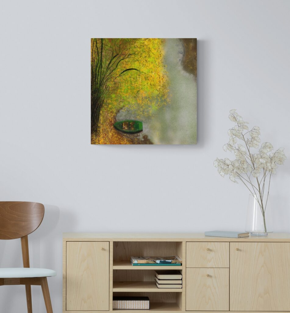 Second image of 'La Barque'. Stunning art print inspired by the beautiful nature in Occitanie, France. artist: Anne Turlais - Limited edition of 300. Floral Art Print on Dibond.