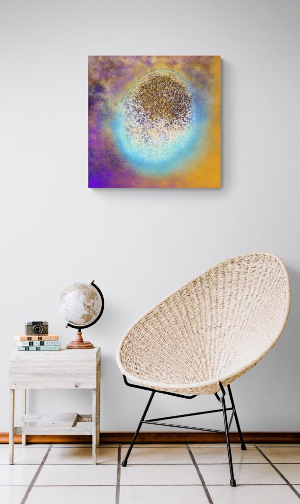 Third image of 'Renaissance'. Majestic art print from the collection Vagues d'Amour. artist: Anne Turlais - Limited edition of 300. Colorful wall art printed on Dibond, signed and numbered.