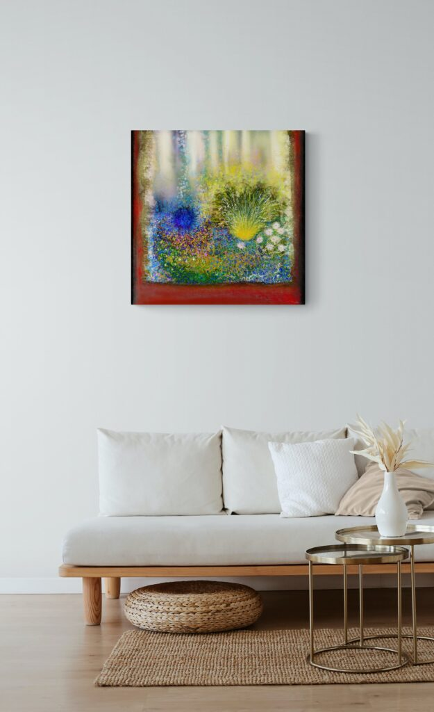 Third image of 'Secret Garden III' artist: Anne Turlais - Limited edition of 300. Abstract floral art printed on Dibond.