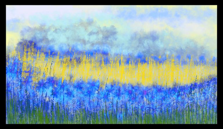 Oeuvre d'art floral inspirée des bleuets, peinte par Anne Turlais, imprimée en France sur Dibond et éditée par la Galerie Artwave avec un tirage limité à 300 exemplaires.