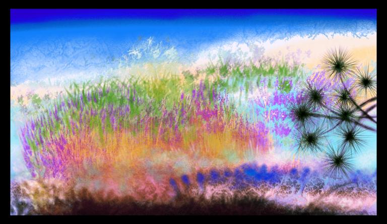 'Plage Sauvage' est un tableau d'art évoquant le bord de mer des plages sauvages de l'océan Atlantique Nord, de la Bretagne pour être précis. Peint par Anne Turlais et publié à la Galerie Artwave
