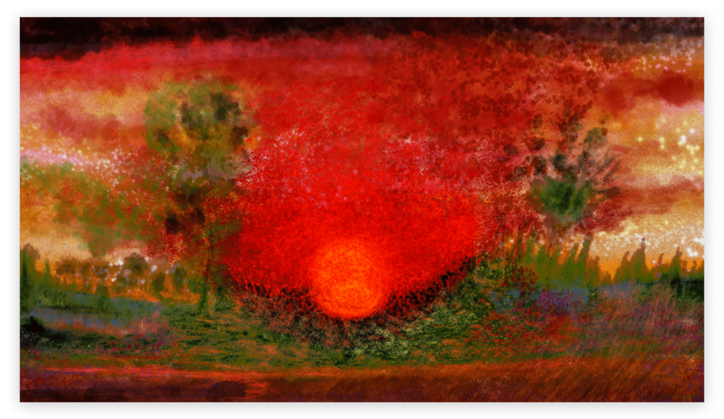 Sunset is a stunning art print of mesmerizing red colors from Anne Turlais. The artwork is printed on Dibond aluminium and is available as limited edition edition from Galerie Artwave