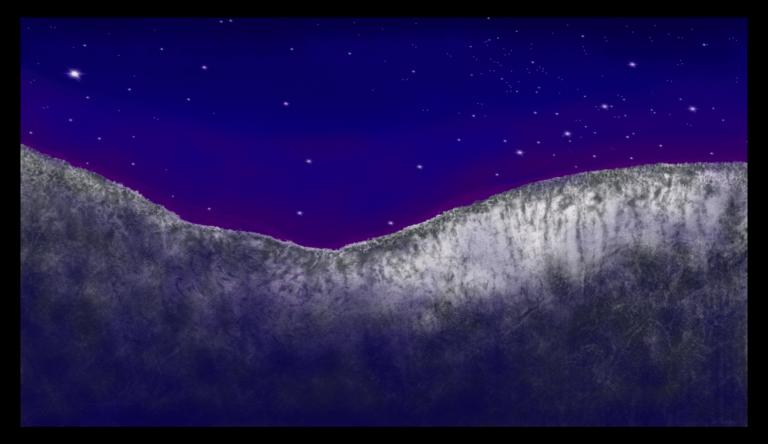 Première image de 'Nuit du Causse' art à accrocher au mur, inspiré des nuits étoilées d'Occitanie dans le sud de la France. Peint par Anne Turlais et imprimé en France sur Dibond à 300 exemplaires.