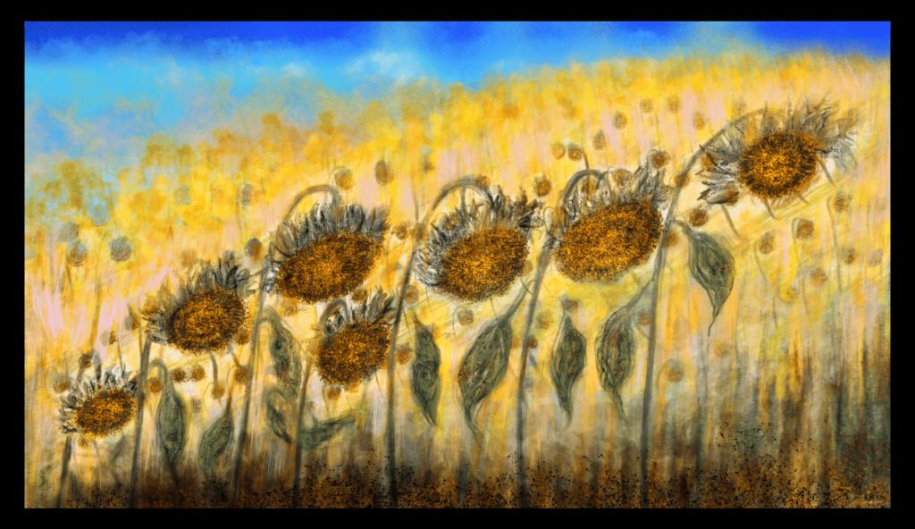 Superbe oeuvre d'art inspirée des tournesols d'Occitanie, France. artiste : Anne Turlais - Edition limitée à 300 exemplaires. Imprimé sur papier Fine Art et encollé sur Dibond.