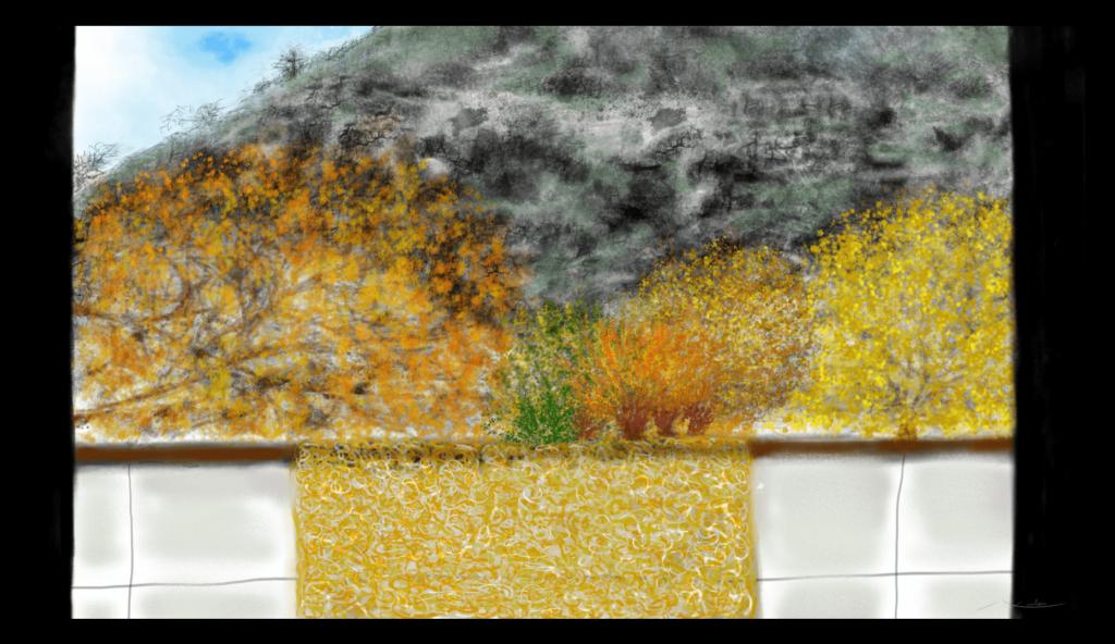 À ma Fenêtre présente une vue sereine du paysage d'Anne Turlais en Occitanie, en France. Belle impression d'art floral abstrait avec une finition antique de l'édition Dibond de cette image.