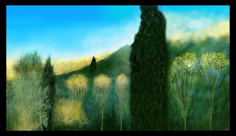 Première image de 'Plumeaux'. Les dernières feuilles tremblantes de l'automne, s'accrochent aux cimes des peupliers en leur formant un joli plumeau. artiste : Anne Turlais - Edition limitée à 300 exemplaires. Impression florale sur Dibond.