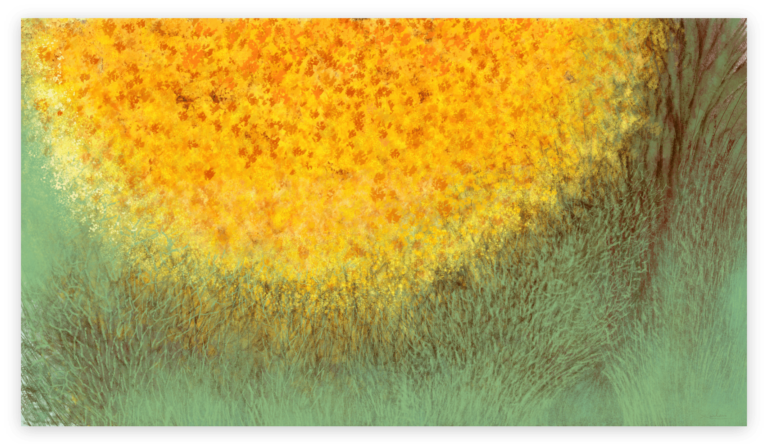 First image of 'Golden Oak'. Mesmerizing art print inspired by the contrasting colors of the golden oak and milky-green lichen in Occitanie. artist: Anne Turlais - Limited edition of 300. Abstract Floral Art Printed on Dibond.