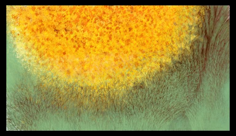Première image de 'Tilleul Japonais'. Impression d'art envoûtante inspirée des couleurs contrastées du chêne doré et du lichen vert laiteux d'Occitanie. artiste : Anne Turlais - Edition limitée à 300 exemplaires. Art Floral abstrait imprimé sur papier Fine Art et encollé sur Dibond.