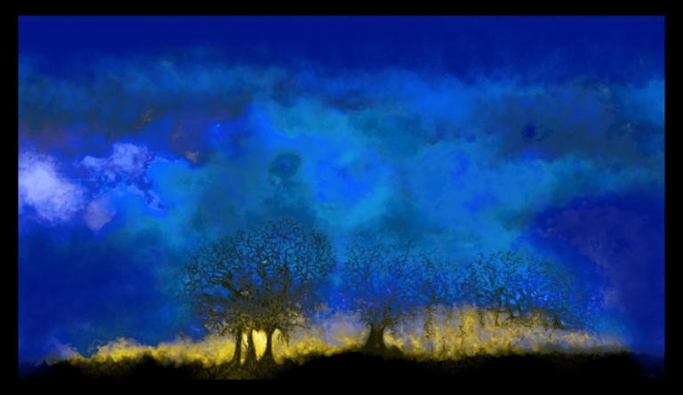 Première image de 'Heure Bleue'. Le ciel était bas ce jour-là, mais le soir, il nous a donné un bref aperçu de la toile de fond de son cadre d'or. artiste : Anne Turlais - Edition limitée à 300 exemplaires. Art du ciel nocturne imprimé sur Dibond.