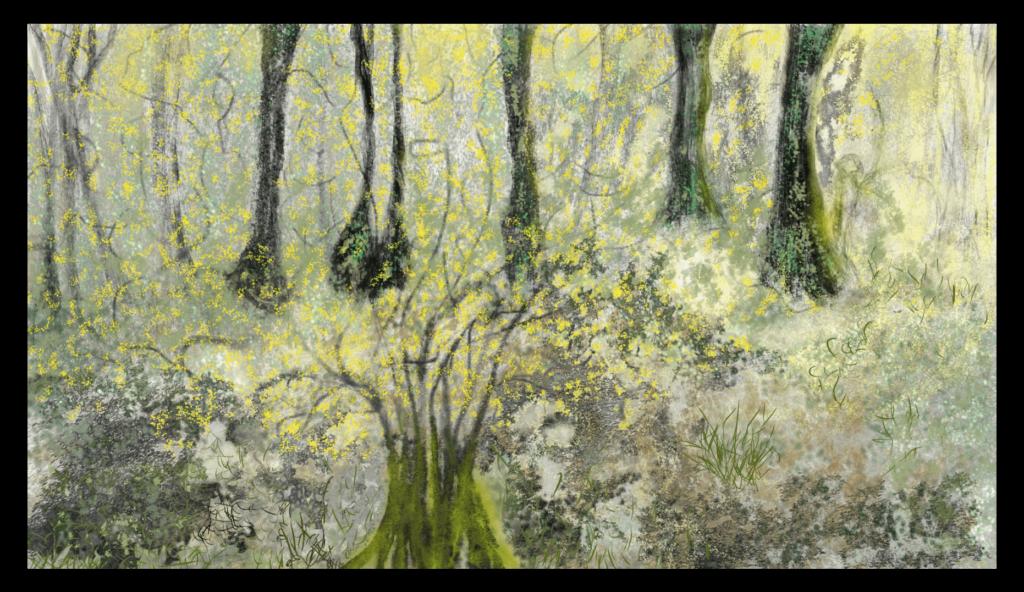 Mountain Mimosa - Peinture nature abstraite - Impression d'art fascinante inspirée des magnifiques mimosas de montagne d'Occitanie, France. artiste : Anne Turlais - Edition limitée à 300 exemplaires. Tableau nature abstraite imprimé sur Dibond.