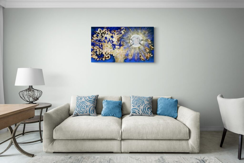 Second image of the dazzling art print inspired by the vivid nights in Occitanie, France. artist: Anne Turlais - Limited edition of 300. Floral Art print in limited edition on Dibond.