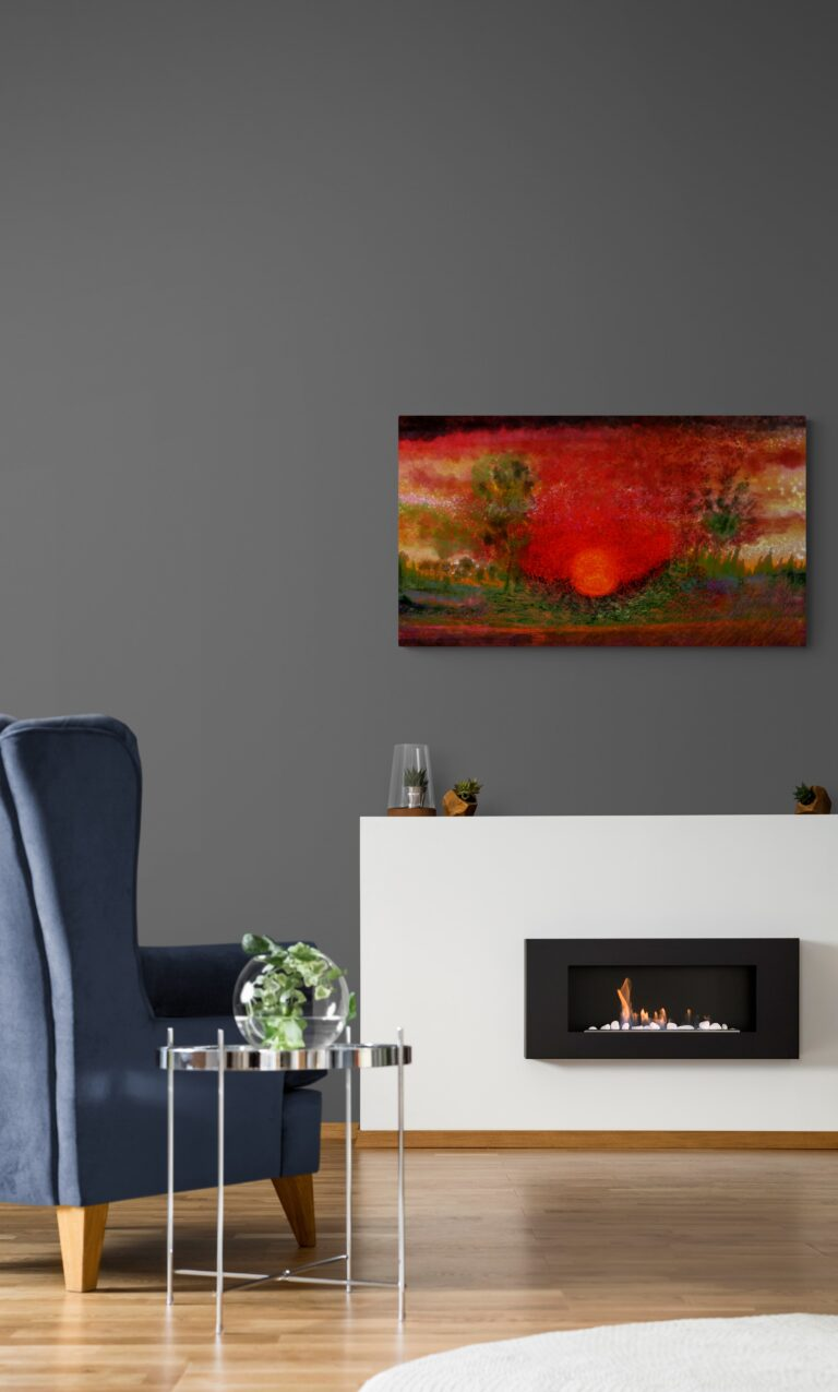 Sunset is a stunning artwork of mesmerizing red colors from Anne Turlais. The artwork is printed on Dibond aluminium and is available as limited edition edition from Galerie Artwave