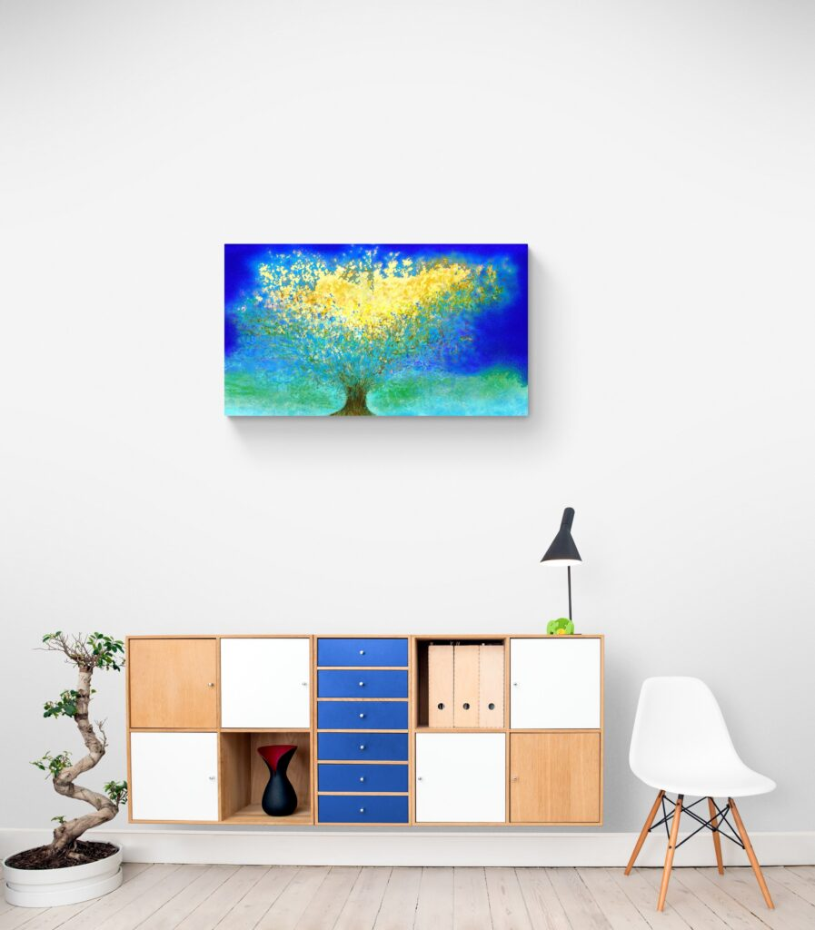 The nature wall art Fresh Shelter by artist Anne Turlais is inspired from the wildlife in Occitanie, a France region which she lives in. Cold and snow contemplate shelter so that they can survive. This abstract art print is printed on Dibond in limited edition.
