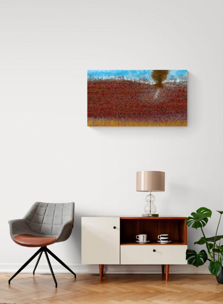 Impression d'art fascinante inspirée des terres rouges des champs du Lot.