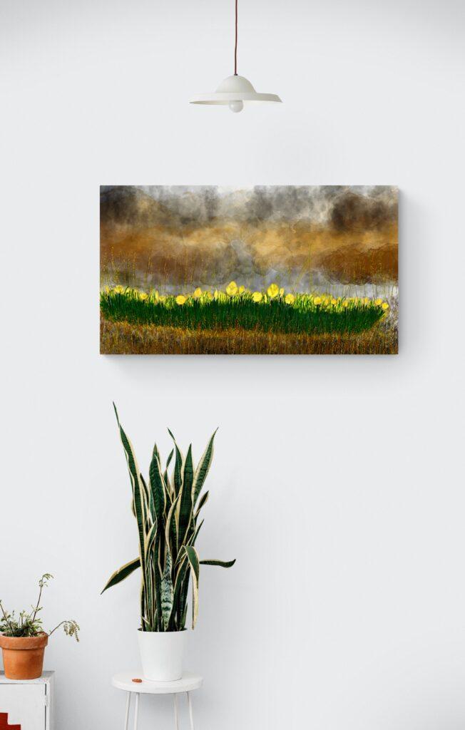 Seconde image de 'Vendangeuse'. Oeuvre d'art inspiré des fleurs d'aster en Occitanie, imprimé en édition limitée sur papier fine art et encollée sur Dibond et inspiré des couleurs de l'été. Cette peinture abstraite colorée est une oeuvre originale d'Anne Turlais.