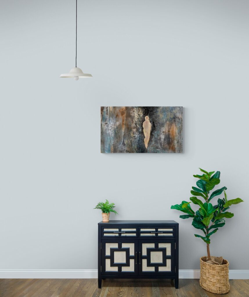 3e image de 'Sur la Roche'. Sur la Roche est une œuvre d'art originale et contemporaine créée par Anne Turlais, une artiste vivant dans le sud de la France. Pour ce projet, Anne a choisi de s'inspirer de la falaise de sa région de prédilection, l'Occitanie.