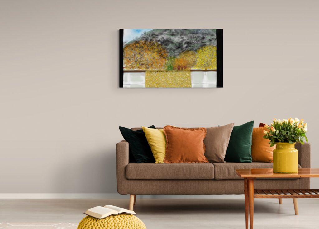 A ma Fenêtre présente une vue sereine du paysage d'Anne Turlais en Occitanie, en France. Belle impression d'art floral abstrait avec une finition antique de l'édition Dibond de cette image.