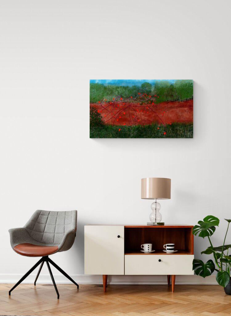 Impressionnante peinture contemporaine inspirées des couleurs de Cynorhodon en Occitanie par l'artiste française Anne Turlais pour votre décor.