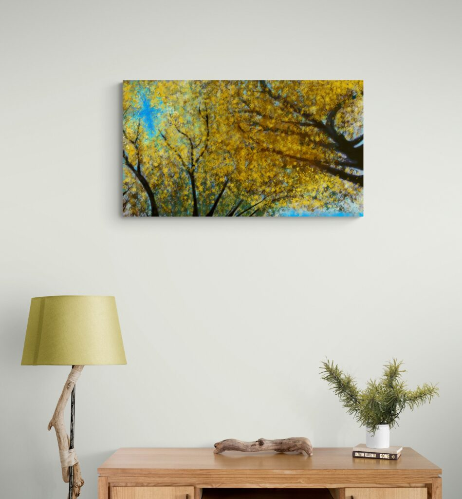Second image of 'Japanese Linden'. Remarkable art print inspired by the pulsating radiance of Japanese Linden golden leaves in Occitanie, France. artist: Anne Turlais - Limited edition of 300. Floral Art Print for sale, printed on Dibond.