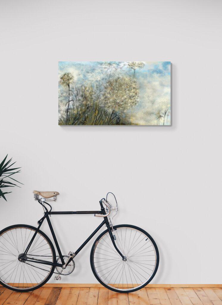 Second image of 'Asteraceae' - The last trembling leaves of autumn cling to the tops of the poplars, forming a lovely feathery envelope. artist: Anne Turlais - Limited edition of 300. Flower Art Print on Dibond.