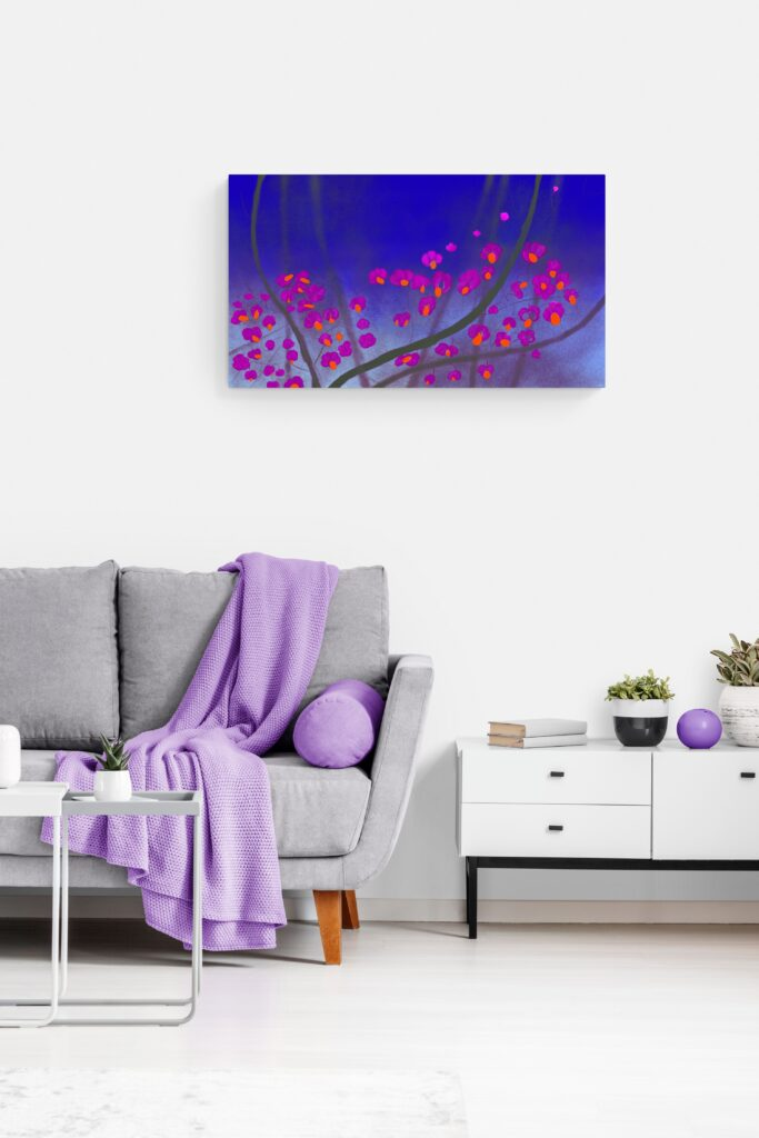 Second image of 'Charcoal'. Dazzling art print inspired by the beautiful colors of the rose hips of Occitanie, France. artist: Anne Turlais - Limited edition of 300. Abstract Floral Painting Printed on Dibond.