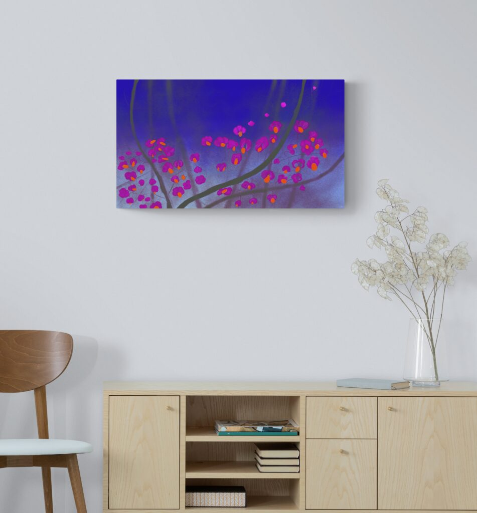Third image of 'Charcoal'. Dazzling art print inspired by the beautiful colors of the rose hips of Occitanie, France. artist: Anne Turlais - Limited edition of 300. Abstract Floral Painting Printed on Dibond.
