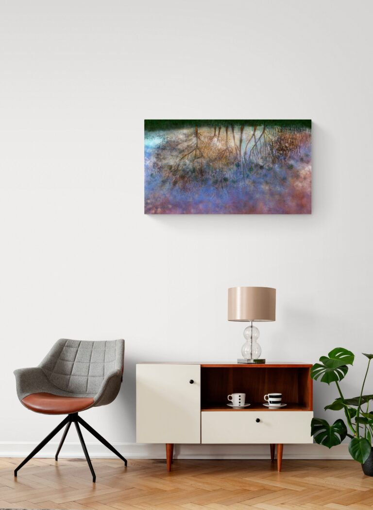 Second image of 'Puddle'. Dazzling art print inspired by the fascinating world one can observe in a puddle, opening to the sky. artist: Anne Turlais - Limited edition of 300. Printed on Dibond.
