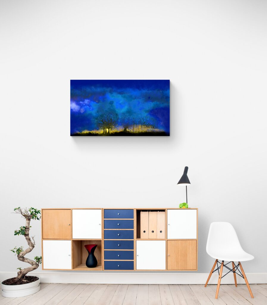 Third image of 'Blue Hour'. The sky was low that day, however in the evening it gave us a brief glimpse of the backdrop of its gold setting. artist: Anne Turlais - Limited edition of 300. Night Sky art printed on Dibond.