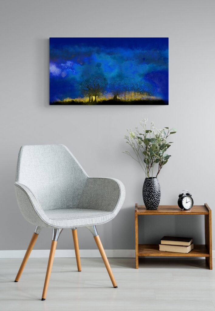 Second image of 'Blue Hour'. The sky was low that day, however in the evening it gave us a brief glimpse of the backdrop of its gold setting. artist: Anne Turlais - Limited edition of 300. Night Sky art printed on Dibond.