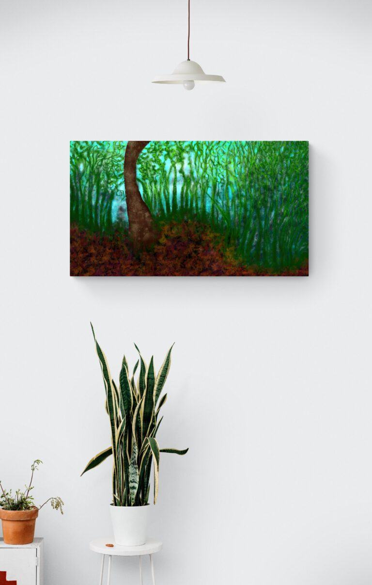 Second fascinating art print inspired by the mesmerizing forest decors in Occitanie, France. artist: Anne Turlais - Limited edition of 300. Forest art print on Dibond.