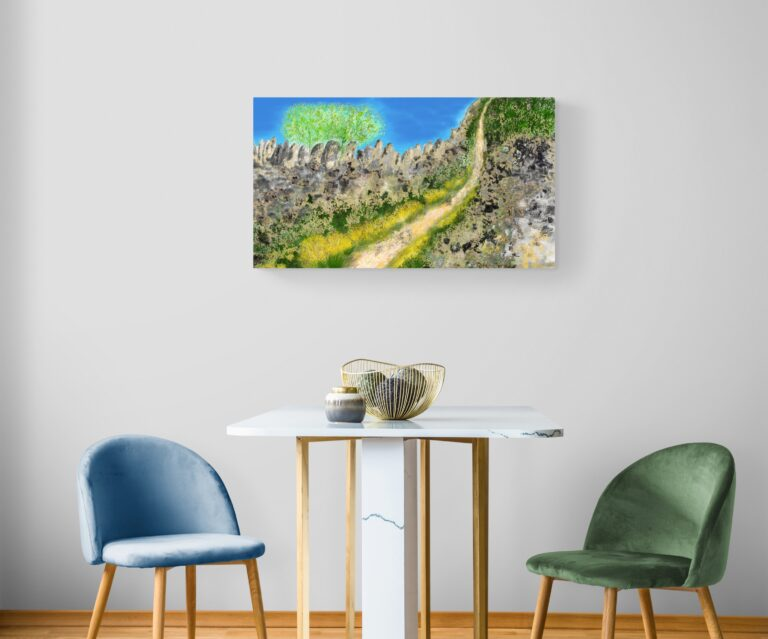 The Pathway, a mountain painting , is a fine art print painted by artist Anne Turlais, and features inspiring mountain paths of Occitanie in France. Printed on Dibond, it is limited edition run of 300 prints.