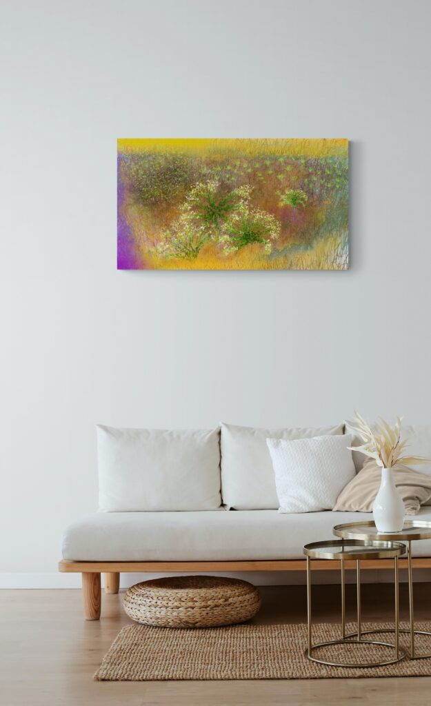 The art print 'Seeds' is inspired and dedicated to the amazing landscape of my region, Occitanie in South-West of France, with its lush green valleys with vineyards and olive trees. Printed on Dibond in 300 copies.