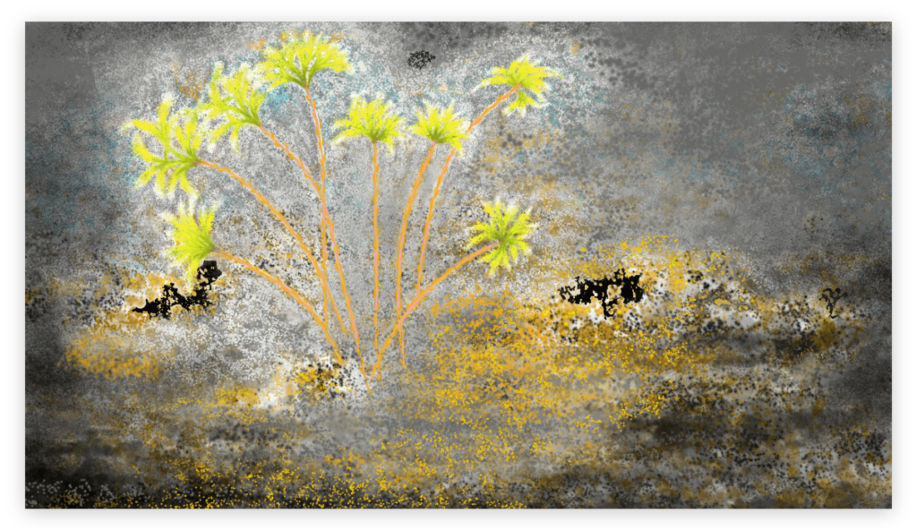 Dazzling art print inspired by the vivid nights in Occitanie, France. artist: Anne Turlais - Limited edition of 300. Floral Art print in limited edition on Dibond.